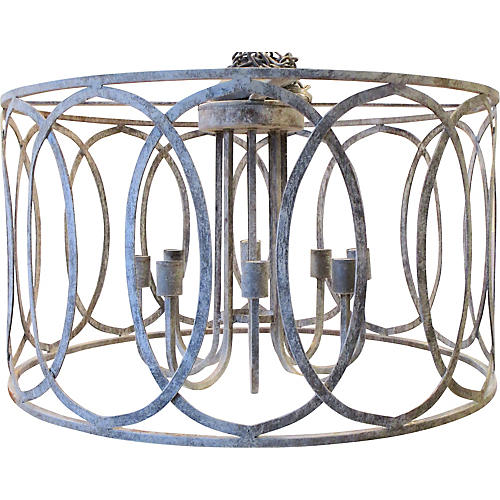 Oval Patterned Iron Chandelier