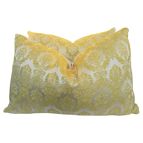 Italian Silk Damask & Lattice Pillows