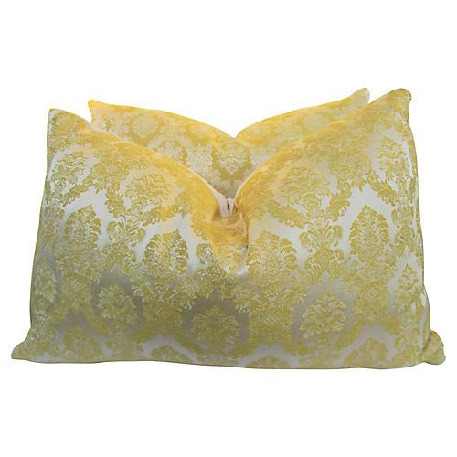 Italian Silk Damask & Lattice Pillows