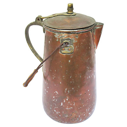 19th-C. French Copper Coffeepot