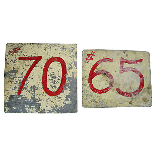 Zinc Hand-Painted Mercantile Signs S/2