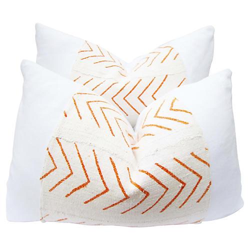 Orange Mud-Cloth Pillow