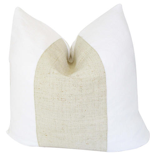 French White & Flax Linen Pillow