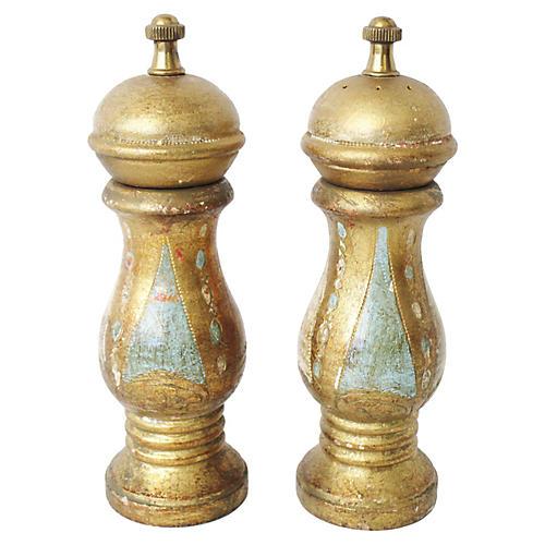 Antique Florentine Salt & Pepper Shakers