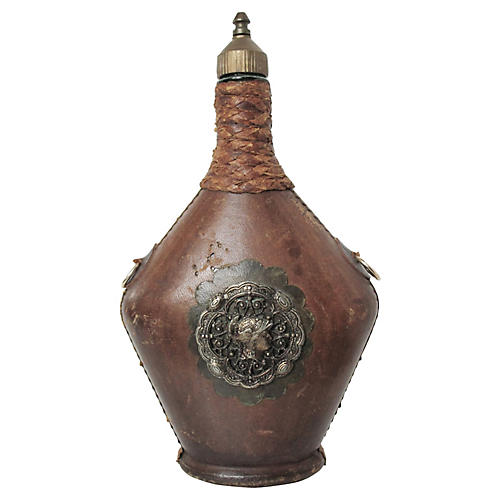 Italian Leather-Covered Carafe