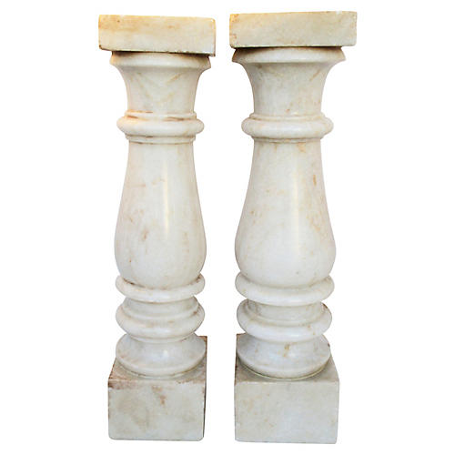 European Carved Candlesticks, S/2
