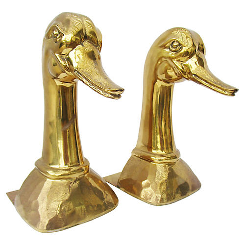 European Brass Duck Bookends