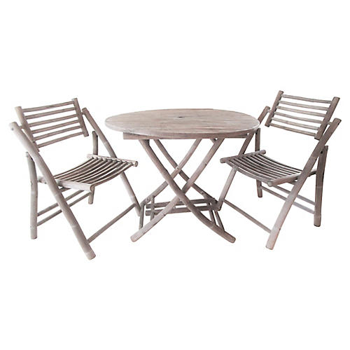 Patinated Bamboo 3-Pc Bistro Set