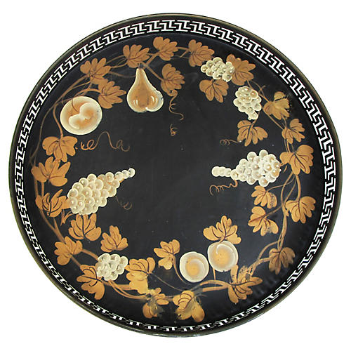 French Black & Gold Tole Tray