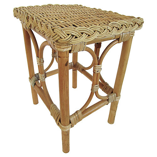 English Rattan & Bamboo Side Table