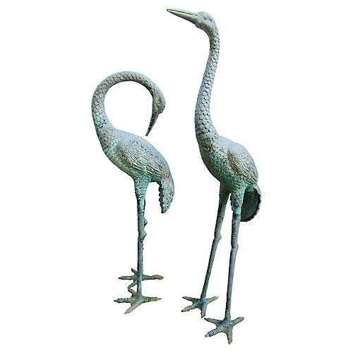 Patinated Garden Cranes, S/2