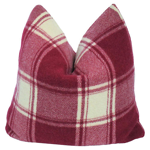 Burgundy Plaid Pillow