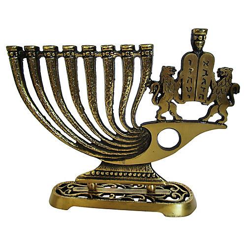 1960's Brass Menorah w/Lion's