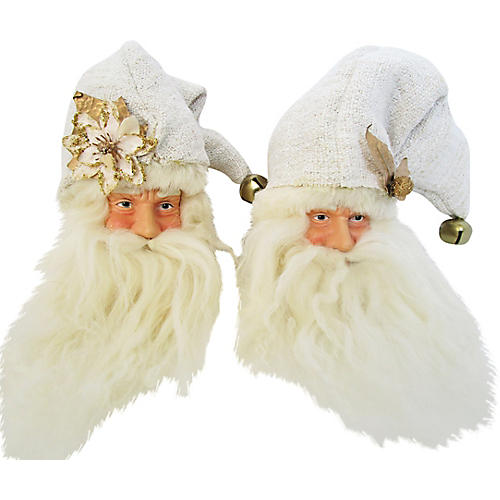European Linen Santa Ornaments S/2