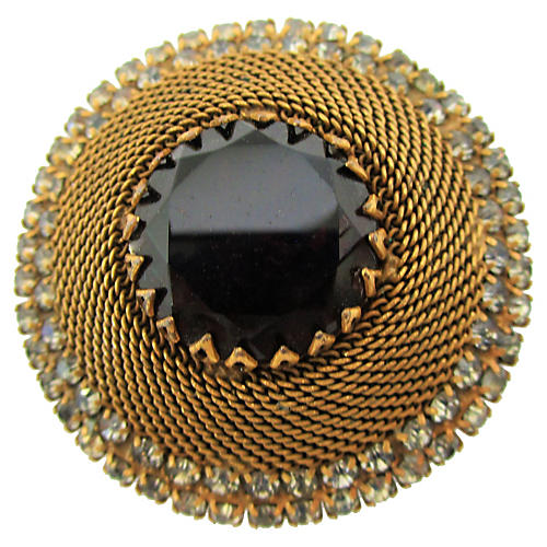 1930s Goldtone Faux-Garnet Brooch