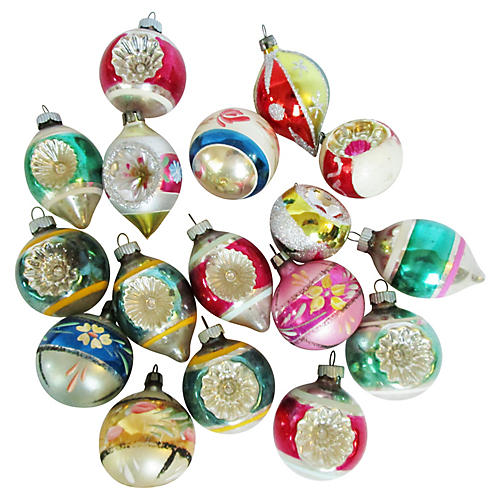 1960's Glass Christmas Ornaments S/17
