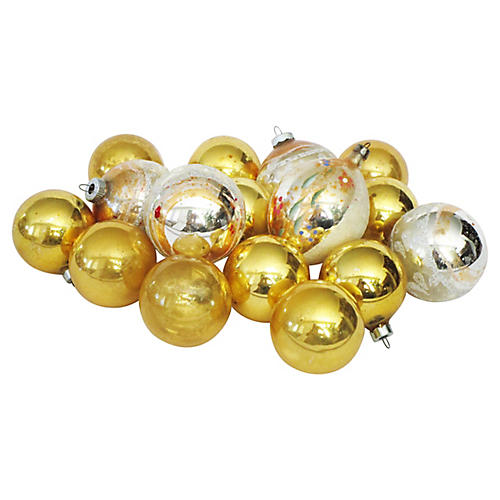 Gold & Silver Christmas Ornaments S/16