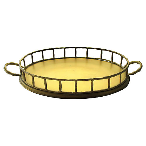 1960s Brass Bamboo-Style Tray