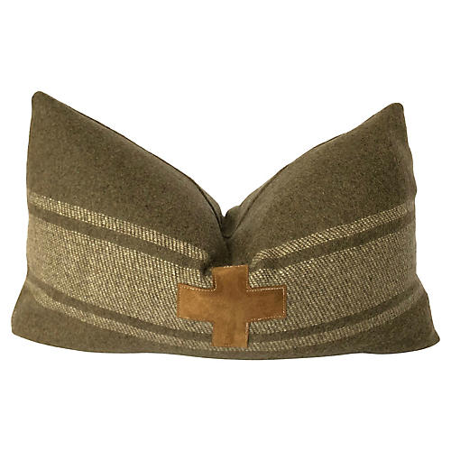 Leather Swiss Cross Wool Pillow