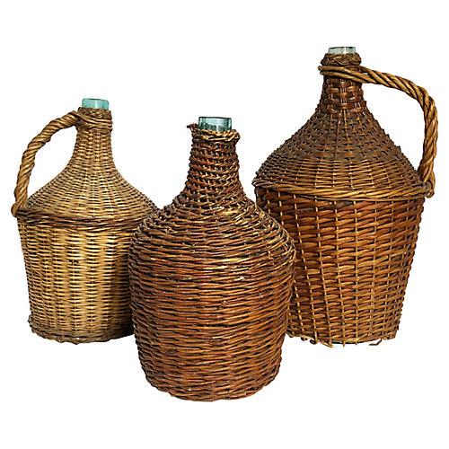 Antique French Wicker Demijohn Trio