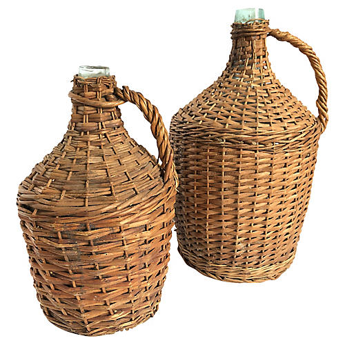Antique French Wicker Demijohn Bottles