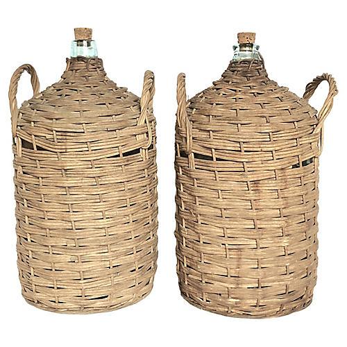 Antique European Demijohn Bottles S/2