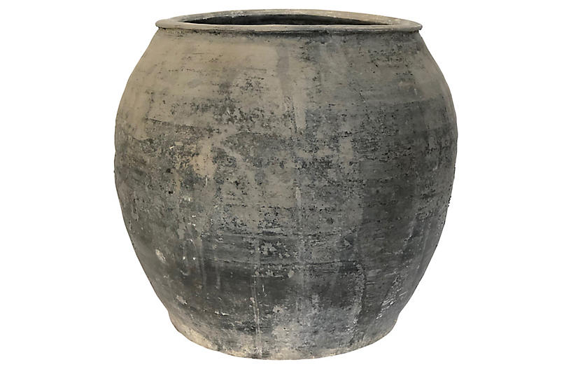 Antique Weathered Gray Pot