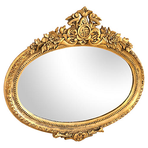 French Antique Gilded Oval Mirror
