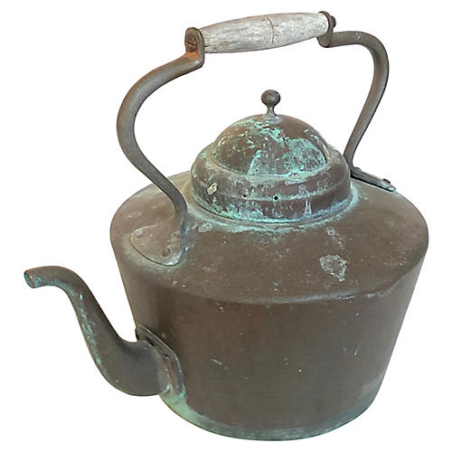 Patinated French Copper Kettle