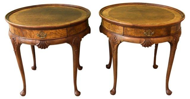 Baker Walnut Queen Anne Tables, Pair