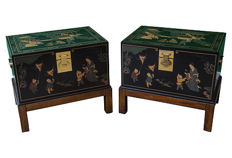 Chinioserie  Trunk Side Tables, Pair
