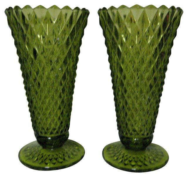 Emerald Pressed-Glass Vases, Pair