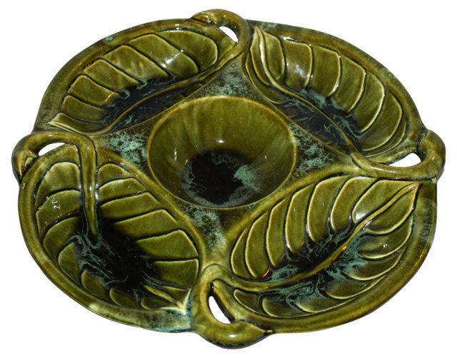 Green Pottery Divided Serving Dish