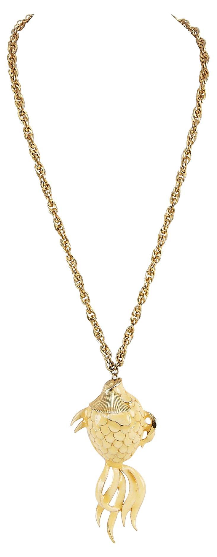 Enamel Fish Pendant Necklace