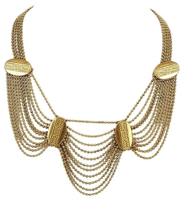 Goldtone Chain Drop Necklace