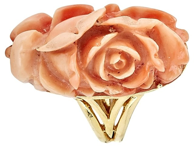 1960s Trifari Carved Faux-Coral Ring