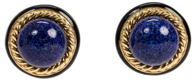Ciner Faux-Lapis Earrings
