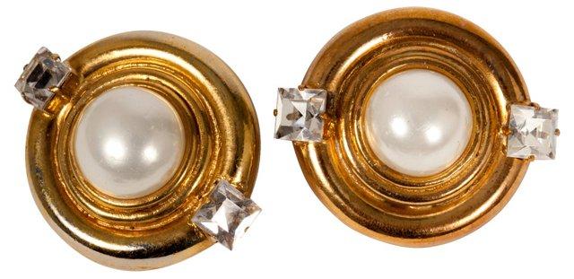 Chanel Faux-Pearl & Rhinestone Earrings