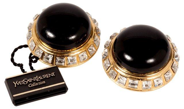 YSL Rhinestone & Black Earrings