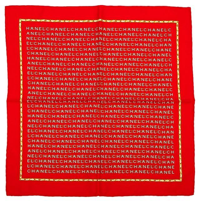 Chanel Red Logo Pocket Silk Scarf