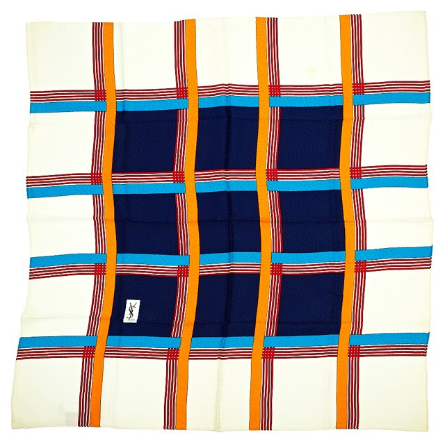YSL Silk Grid Scarf
