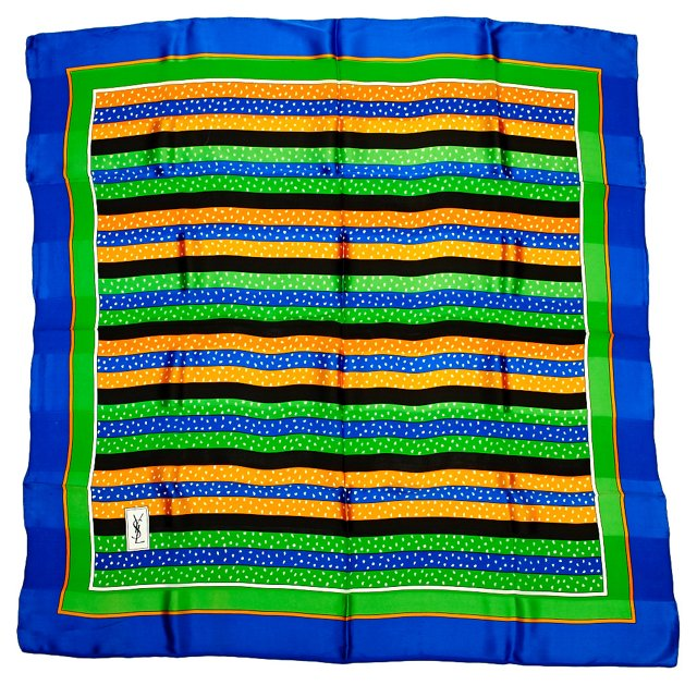YSL Stripe Silk Scarf