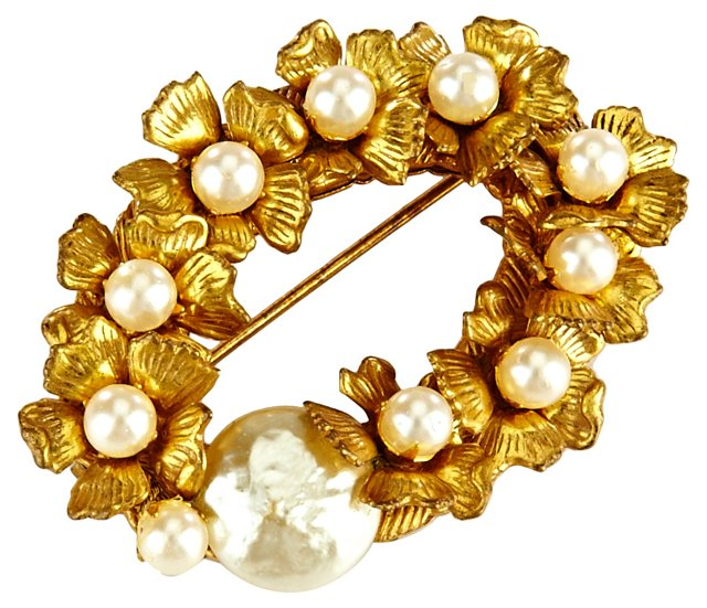 Miriam Haskell Faux-Pearl Brooch
