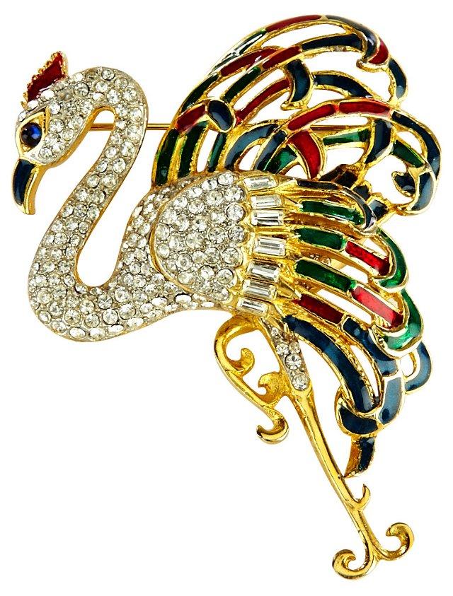 Maresco Enamel Peacock Pin