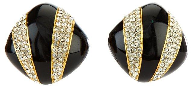 Ciner Black Enamel & Rhinestone Earrings