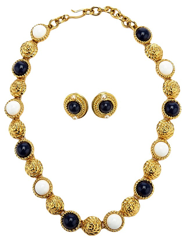 Monet Navy & White Necklace & Earrings