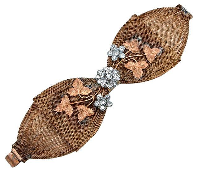 Mesh Metal Bow Flower Bracelet