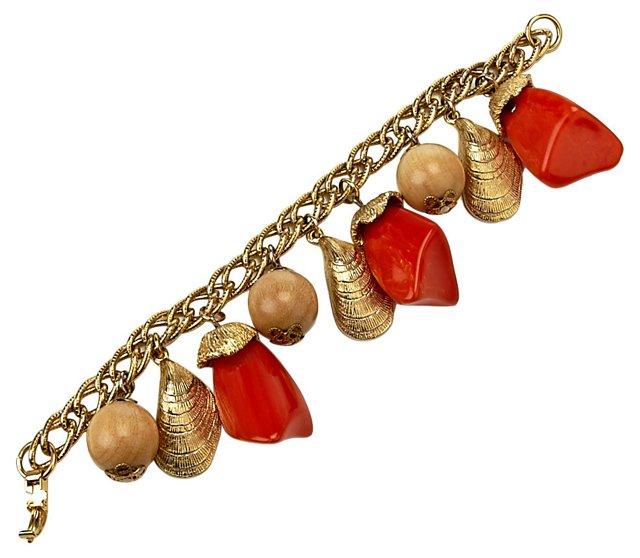 Orange & Goldtone Shell Charm Bracelet