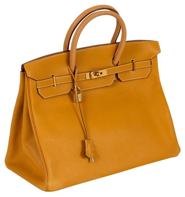 Hermès 40cm Clemence Mustard Birkin