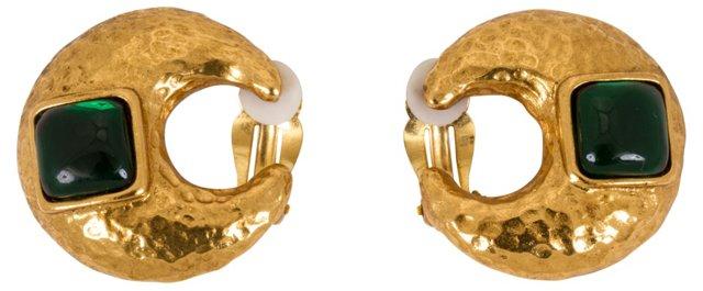 YSL Hammered Gripoix Earrings